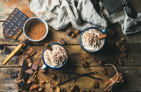 Hot chocolate with whipped cream  nuts and cinnamon in mugs