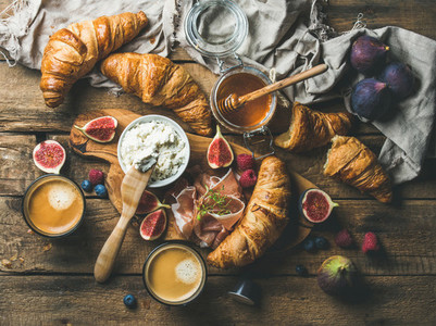 Croissants ricotta cheese figs fresh berries prosciutto honey and espresso