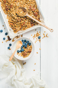 Oat granola with pecans almonds yogurt and blueberry in bowl