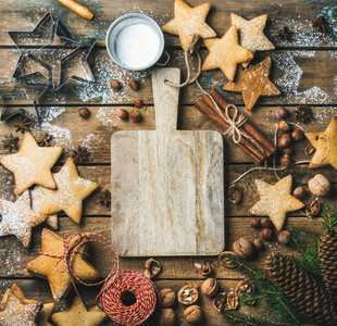 Christmas  New Year background with serving wooden board in center