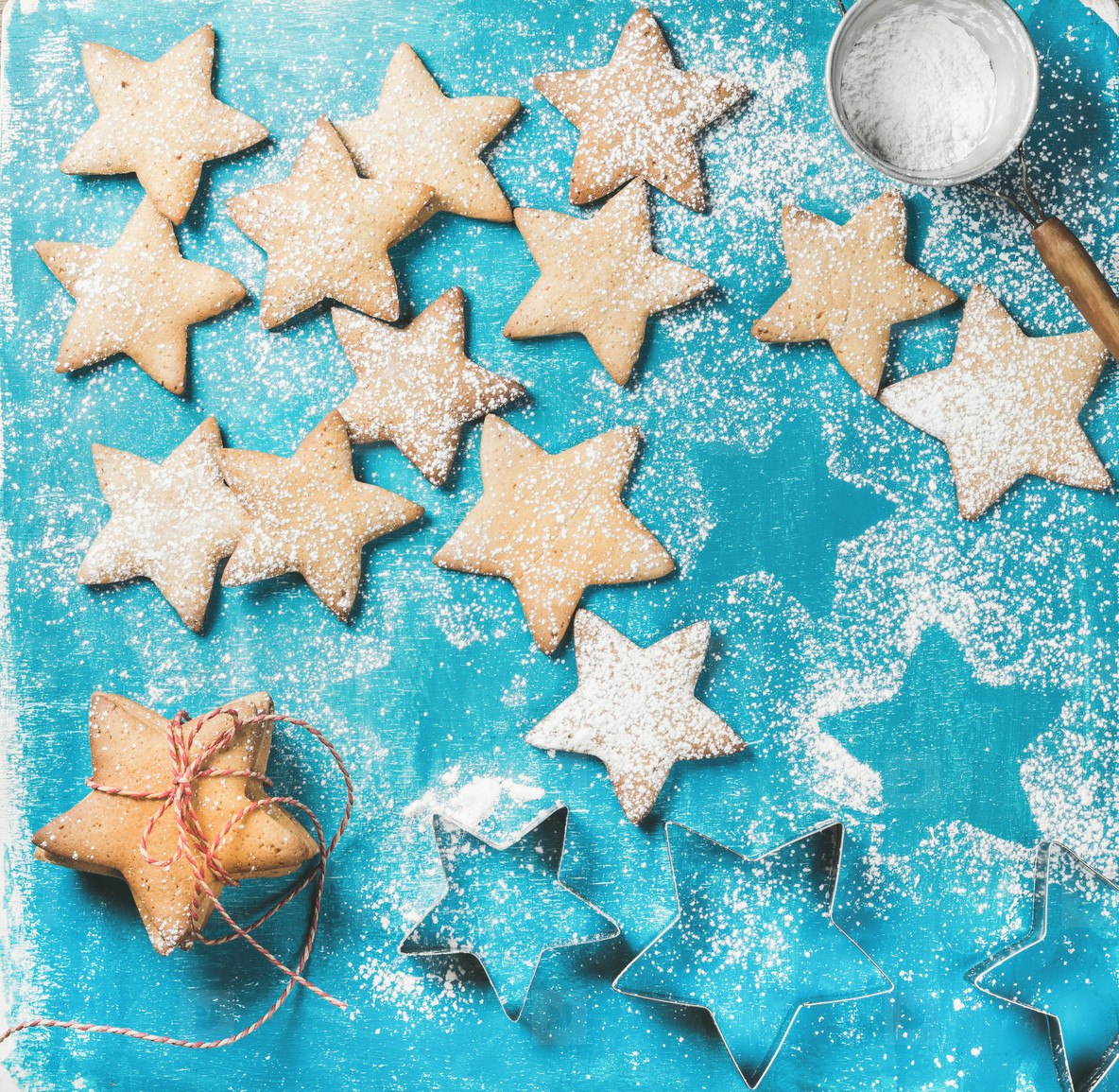 Sweet gingerbread cookies with sugar powder and metal shapes