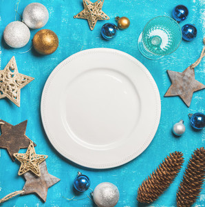 Christmas  New Year holiday background with white plate  copy space