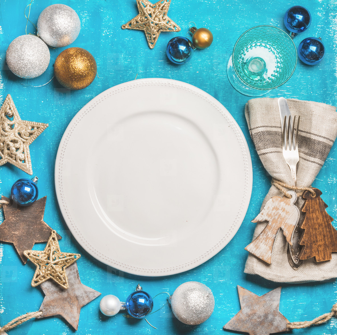 Christmas  New Year holiday background with white plate in center