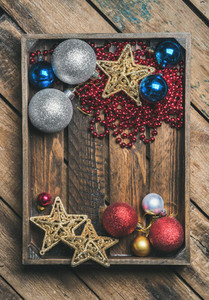 Christmas or New Year holiday decoration background in wooden box