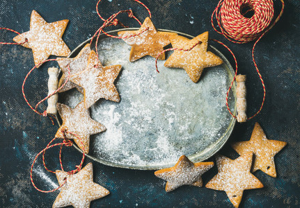 Christmas holiday star shaped gingerbread cookies for tree decoration