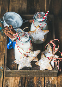 Bottles with milk for Santa and Christmas homemade gingerbread biscuits