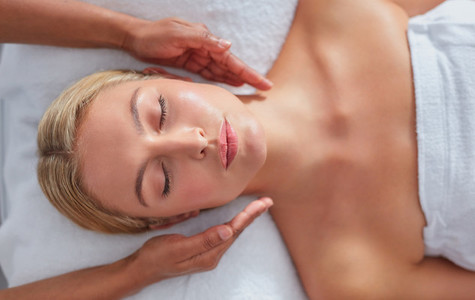 Woman receiving beauty treatment at dayspa
