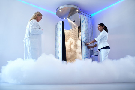Woman going for cryotherapy treatment