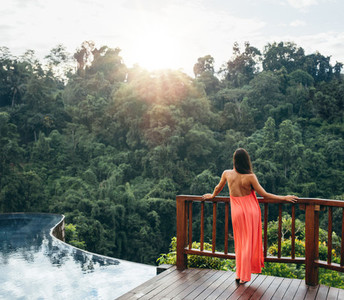 Relaxed woman looking at beautiful view