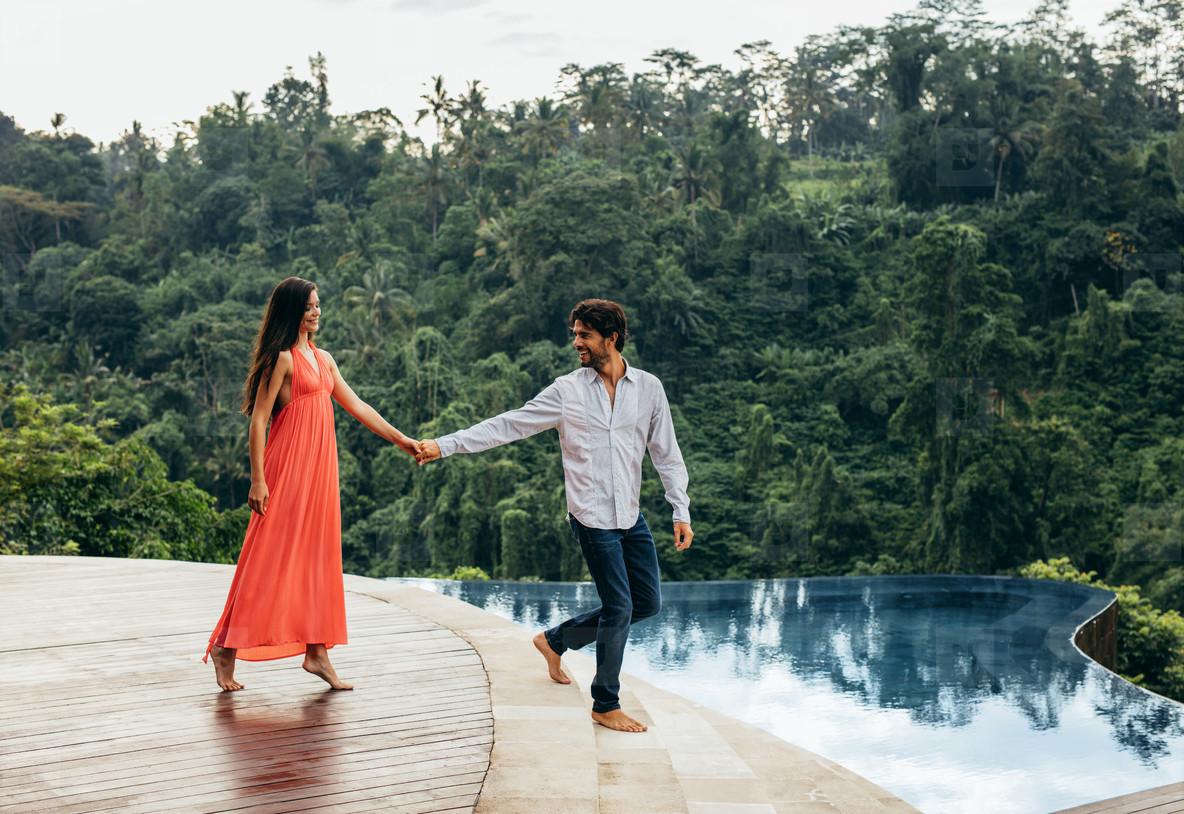 Loving couple enjoying their vacation at holiday resort