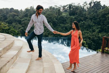 Happy couple in love at luxury resort