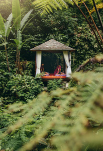 outdoor spa center at luxury resort