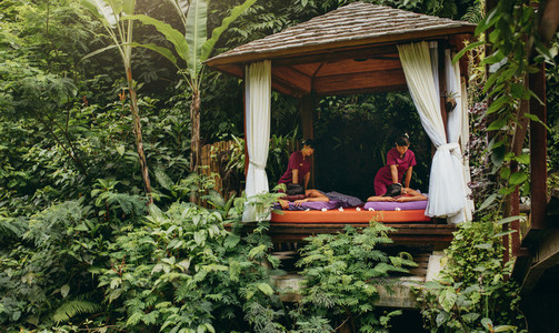 Outdoor spa center at luxury holiday resort