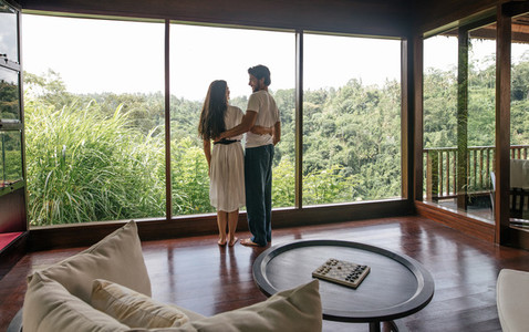 Couple in luxury resort room