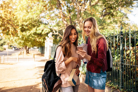 College students using mobile phone outdoors on road