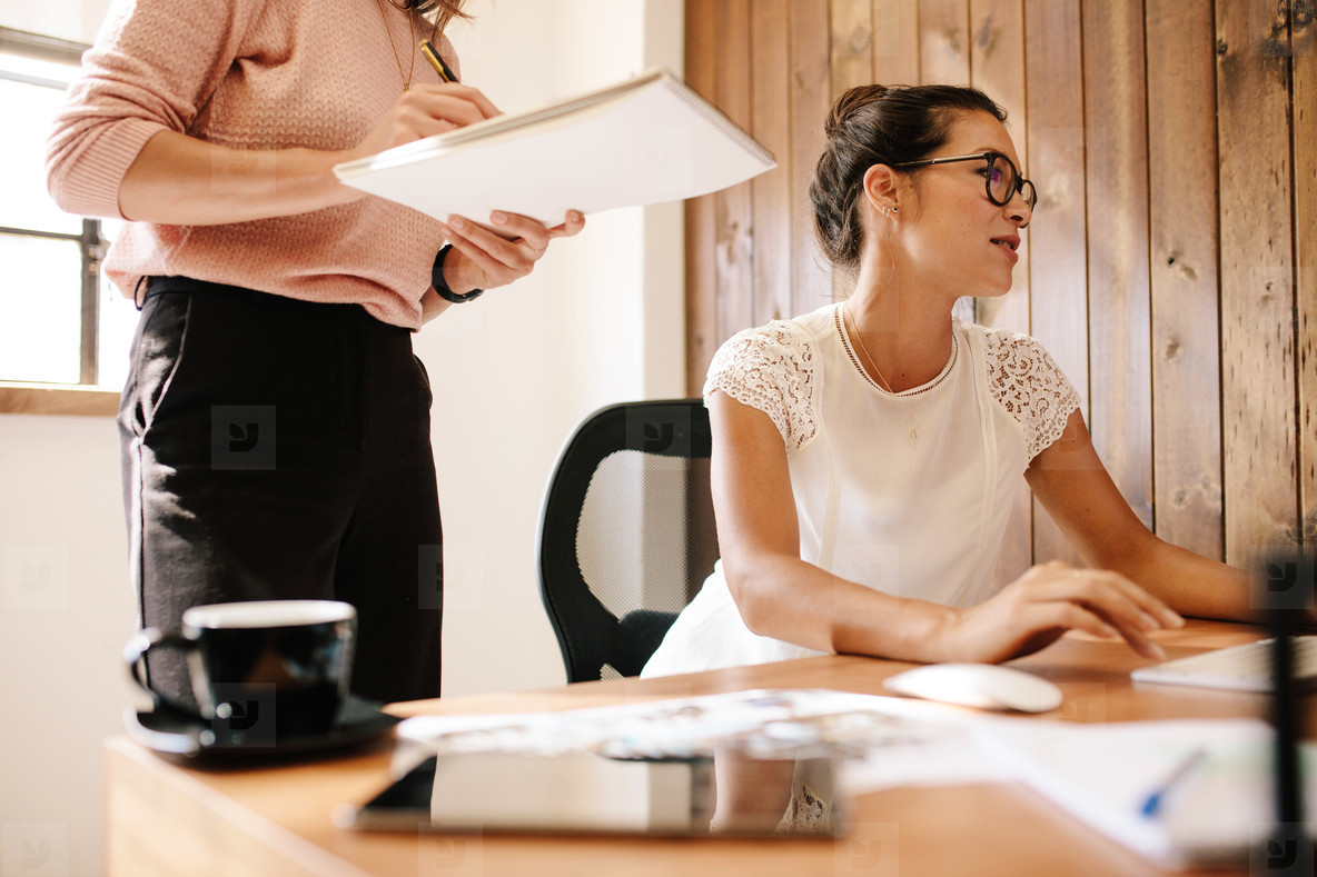 Business woman working at her desk with female colleague