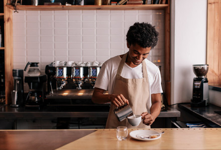 Professional barista preparing coffee on counter