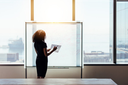 Businesswoman making a business plan presentation in office