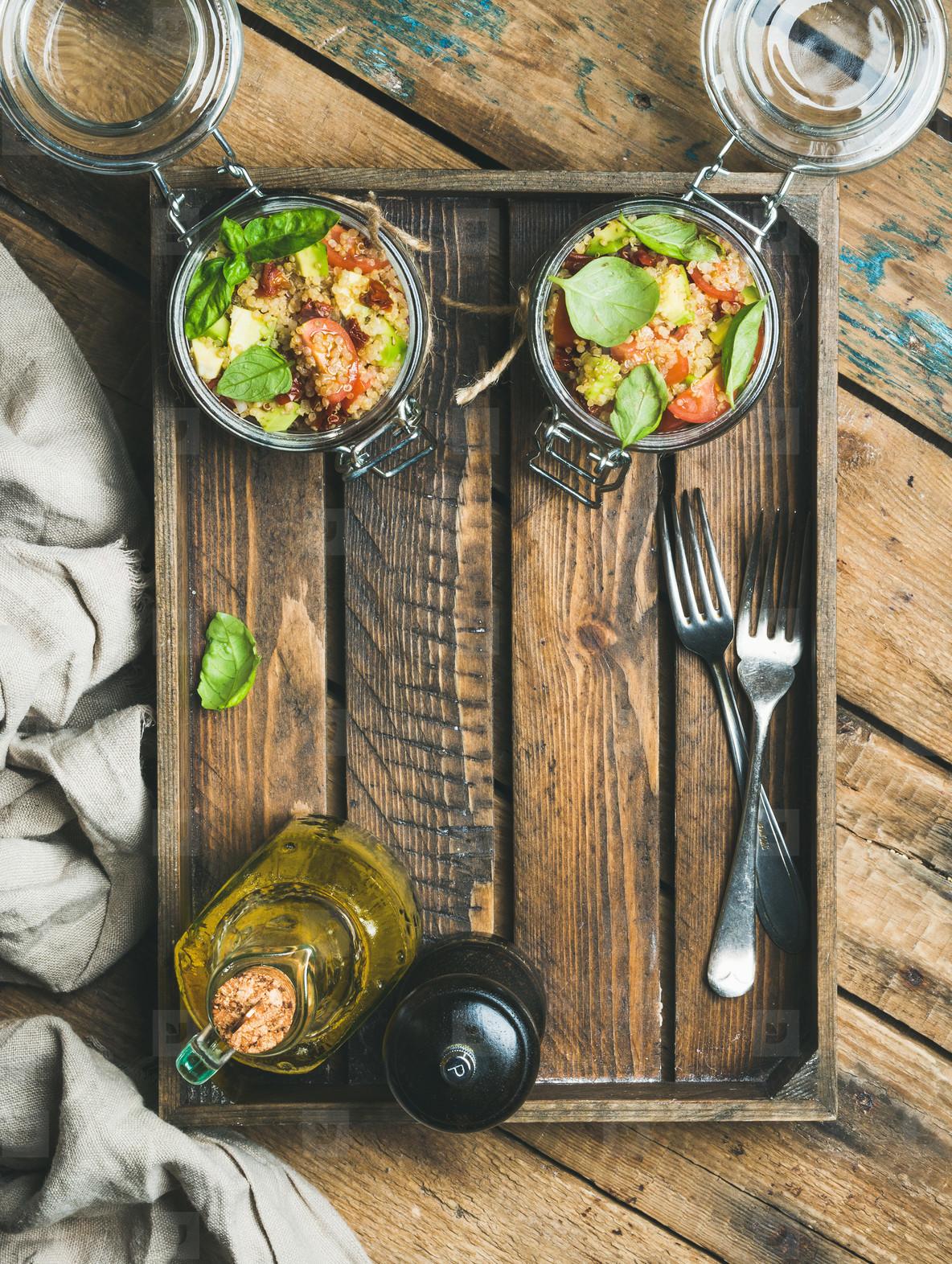 Quinoa salad with sun dried tomatoed  cherry tomatoes  avocado  basil in box