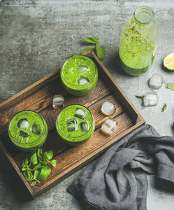 Fresh smoothie with ice cubes  mint and lime  copy space
