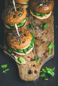 Healthy homemade vegan burger with beetroot quinoa patty copy space
