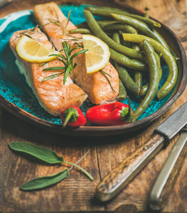 Roasted salmon with lemon rosemary chilli pepper and beans