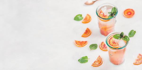 Homemade blood orange lemonade with mint and ice