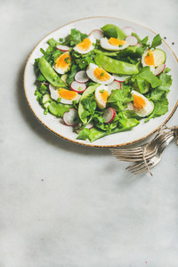 Healthy spring green salad in white plate