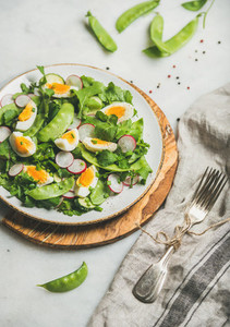 Healthy salad with radish  boiled egg  arugula  green pea  mint