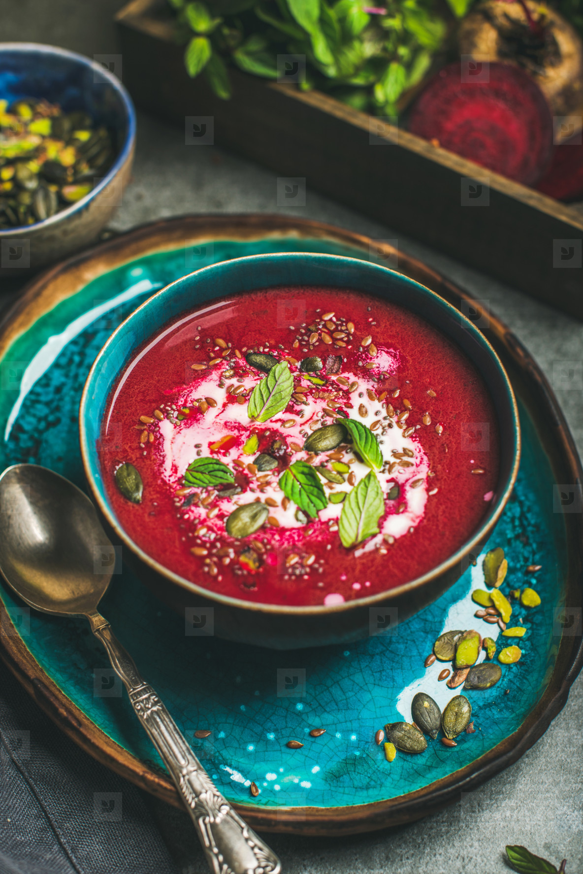Beetroot vegan soup with mint  chia  flax and pumpkin seeds