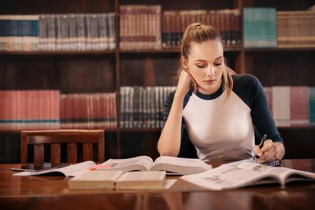 College student preparing for exam