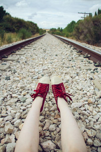 Legs in a railway road