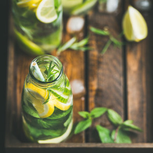 Citrus fruit and herbs infused sassi water for dieting