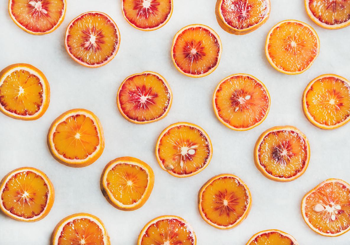 Natural fruit pattern concept with blood orange slices