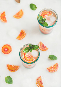 Blood orange fresh summer lemonade in glasses
