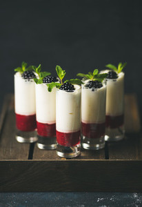 Homemade desserts with fresh blackberry and mint over dark background