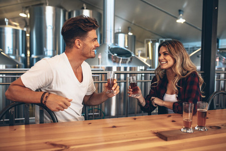 Couple at brewery toasting beers