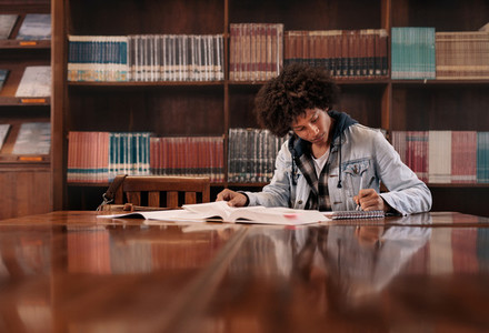 University student doing assignment in library