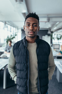African businessman standing at start up