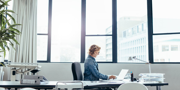 Female executive sitting in her office using laptop