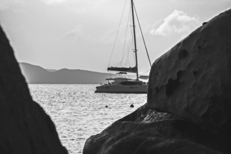 Sailboat and rocks