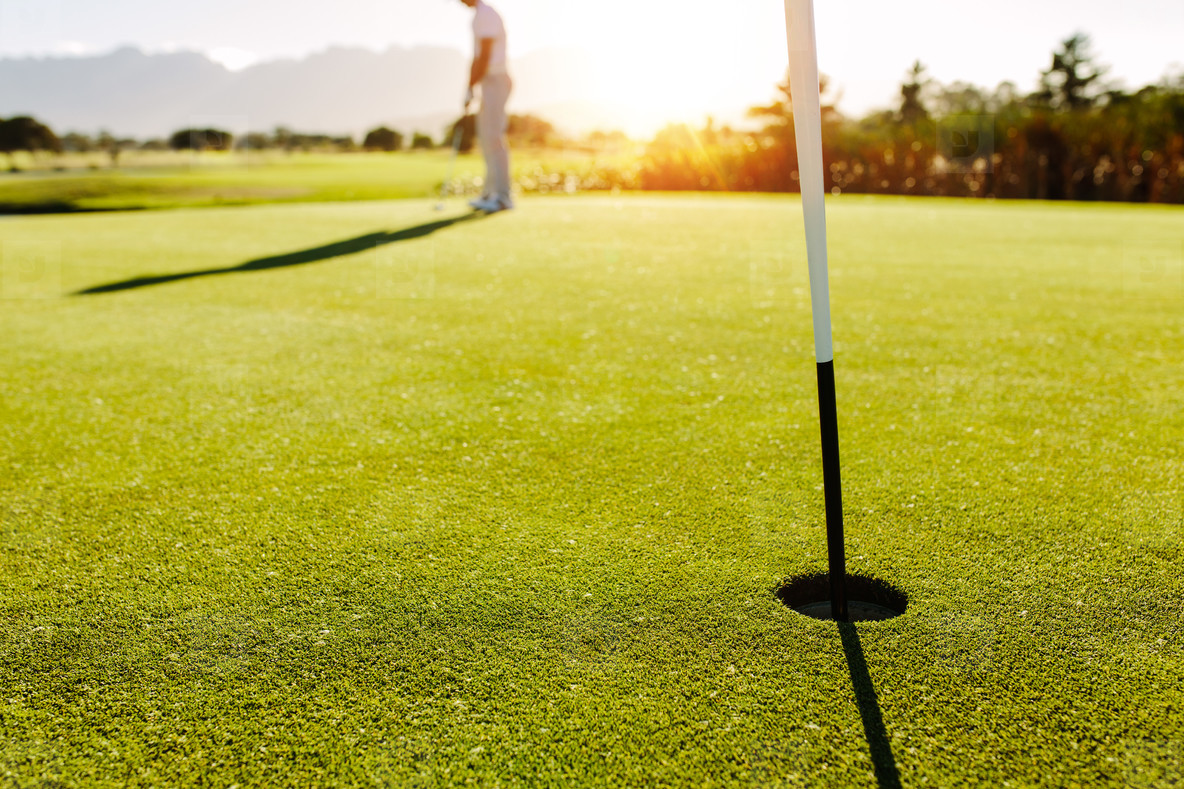 Golf hole and flag in the green field