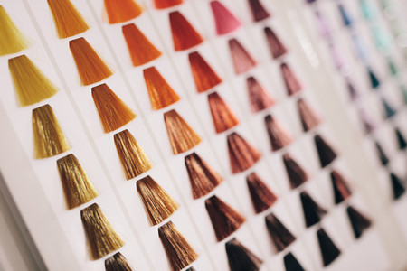 Samples of hair with different shades of hair color