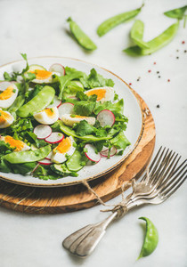 Spring salad with radish  boiled egg  arugula  green pea  mint