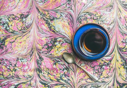 Turkish tea in traditional oriental tulip glass  copy space