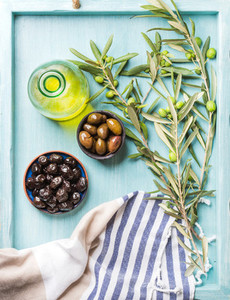 Green and black olives olive tree sprigs