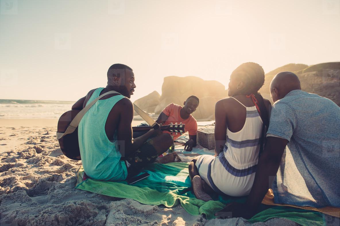People on beach enjoying vacation