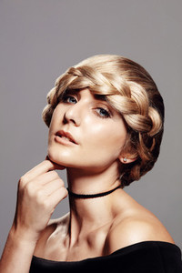Beautiful blonde with braid hairdo