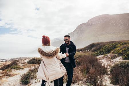 Romantic couple dancing on the beach