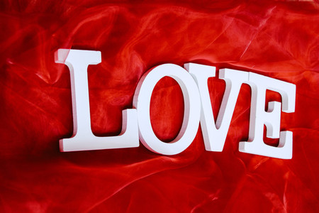 Word love in a red background